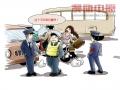 """郑州车难打路太堵只好坐""""摩的""""--果园工社时政漫画"""